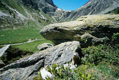 View of mountains and a marmot out of its burrow. View of the valley of Orgere in French alps and a marmot out of its burrow Royalty Free Stock Images