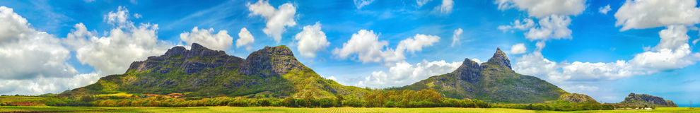 View of mountains. Mauritius. Panorama Stock Images