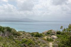 View from the mountains of the Mediterranean Sea on the island of Rhodes royalty free stock photography
