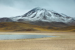 View of mountains and Miscanti lagoon in Sico Pass Stock Photos