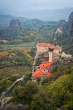 View of the mountains and monasteries of Meteora, Greece Royalty Free Stock Photography
