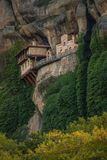 View of the mountains and monastery of Hipapandi at Meteora, Gre Royalty Free Stock Photos