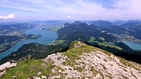 The view from the mountains. The view from the mountain Schafberg stock video footage