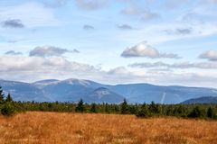 View from mountains in National Park Krkonose. Near Rokytnice nad Jizerou. Park lies in the northeast of Bohemia in the Hradec Kralove and Liberec regions Royalty Free Stock Photo