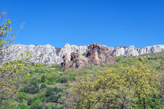 View of the mountains and nature of the south of the Crimea. View of the rocks and nature of the south of the Crimea mountains royalty free stock photos