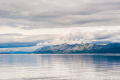 View of the mountains from the open sea in southern Dalmatia Stock Photos