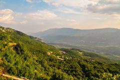 View on mountains from Ostrog monastery. In Montenegro at sunset Royalty Free Stock Photo