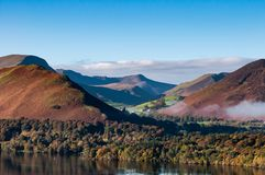 A view of mountains over Derwent Water, Lake District, Cumbria