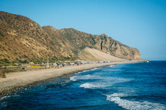 View of mountains and the Pacific Ocean, in Malibu, California. Royalty Free Stock Images