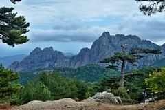 Corsica-outlook from pass Col de Bavella. View of the mountains from pass Col de Bavella on the island of Corsica in France Royalty Free Stock Image