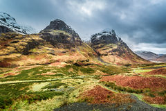 View of the mountains and pass in Glencoe Royalty Free Stock Image