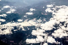 View of the mountains from the plane Royalty Free Stock Images
