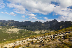 View on mountains in poland in summer and blue sky with clouds Stock Images
