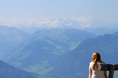 View of mountains from the Rigi, Switzerland. Royalty Free Stock Images