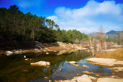 View of mountains river with forest riverside in autumn Stock Photo