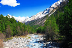 View of the mountains and river into the valley. Elbrus area Royalty Free Stock Photography