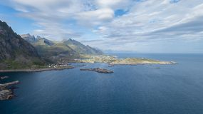 View of mountains and road in Lofoten islands, Norway. Beautiful summer panorama. royalty free stock photography