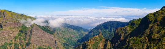 View of mountains on the route Encumeada - Boca De Corrida, Madeira Island, Portugal, Europe. Stock Photography