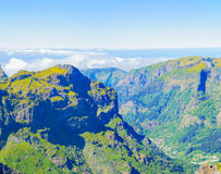 View of mountains on the route Pico Ruivo - Encumeada, Madeira Island, Portugal, Europe. Stock Images