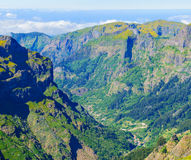View of mountains on the route Pico Ruivo - Encumeada, Madeira Island, Portugal, Europe. Royalty Free Stock Photography
