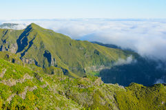 View of mountains on the route Pico Ruivo - Encumeada, Madeira Island, Portugal, Europe. Stock Photo