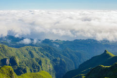 View of mountains on the route Pico Ruivo - Encumeada, Madeira Island, Portugal, Europe. Royalty Free Stock Image