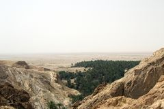 View from the mountains in Sahara Desert, Tunisia royalty free stock photos