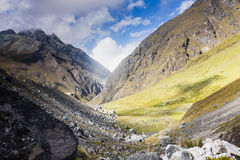 View from the mountains on Salkantay trail. At Cuzco, Peru Royalty Free Stock Photo