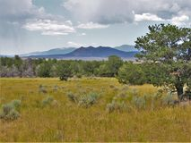 New Mexico`s Santa Fe National Forest. View of the mountains in Santa Fe National Forest in New Mexico from a meadow near Abiuqiu Royalty Free Stock Photography