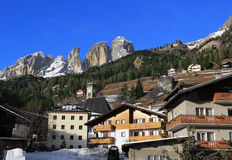 View of the mountains Sassolungo from Campitello Stock Photography