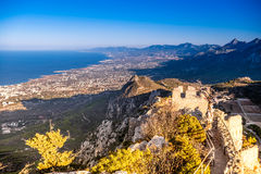 View on mountains and sea from walls of Hilarion Castle. Kyrenia, Cyprus stock photo