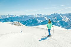 View of mountains and ski slopes in Austria Skiing stock photo