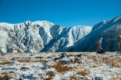 View on mountains in snow. Photo of Tateyama mountains  and yellow grass in snow Stock Photo
