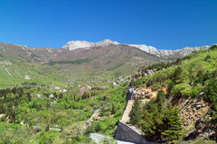 View of the mountains of the south of Crimea. Resorts of Yalta. View of the mountains of the south of Crimea stock photo