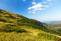 View on mountains in summer with ski lift on blue sky background, Tatra Mountains. View on mountains in summer with ski lift on blue sky background, Tatra Royalty Free Stock Photography