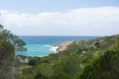 View from the mountains to the Aegean Sea on the island of Rhodes. In summer sunny day stock image
