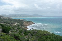View from the mountains to the Aegean Sea on the island of Rhodes royalty free stock photo