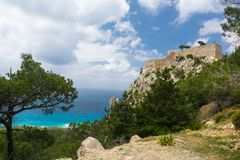 View from the mountains to the Aegean Sea on the island of Rhodes. In summer sunny day stock photography