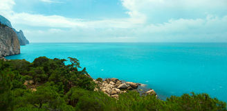 The view from the mountains to the azure Black Sea coast. Royalty Free Stock Images
