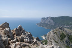 View from the mountains to the blue sea and the beaches of Laspi Stock Photography