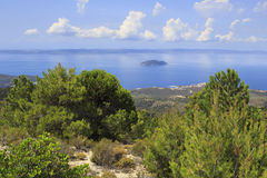View from the mountains to the coast of Aegean Sea. Royalty Free Stock Images