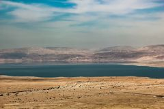 View from the mountains to the dead sea in israel stock photo