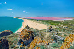 Sea coast and mud pink lake Royalty Free Stock Images