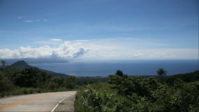 View from the mountains to the sea and islands. stock footage