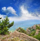 View from the mountains to the valley Royalty Free Stock Image