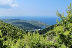 View from mountains towards the sea Stock Photo