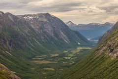 View of mountains from Trollstigen viewpoint, Norway Royalty Free Stock Photos