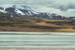 View of mountains and Tuyajto lagoon in Sico Pass Stock Images
