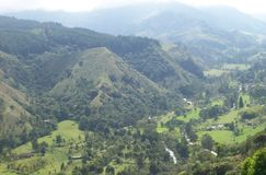 View of mountains and valley at coffee zone in Colombia stock images