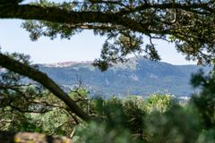 View of the mountains and the valley through the tree branches royalty free stock photo